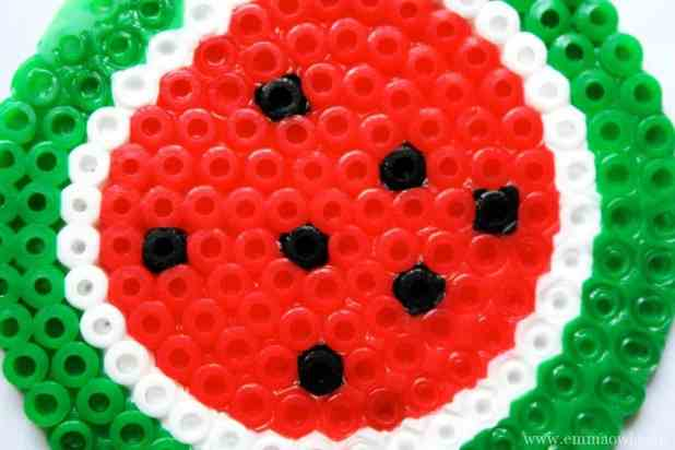 Hama Bead Watermelon Coasters. This is a great gift idea