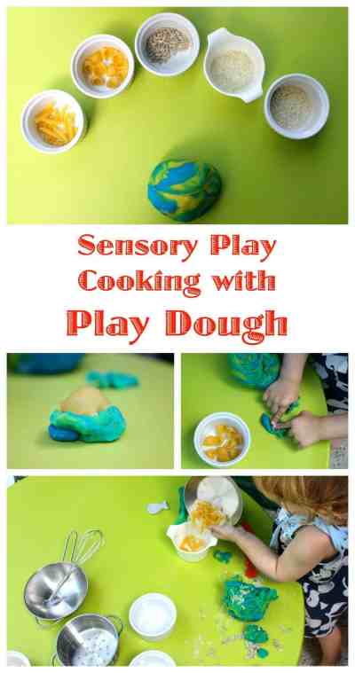 Cooking with Play Dough. A fun little sensory activity to do with kids. This is what we do when we get to the end of the play dough...