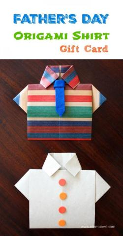 Wonderful Fathers Day Idea. Make this Origami Shirt Gift Card - with a step by step photo tutorial!