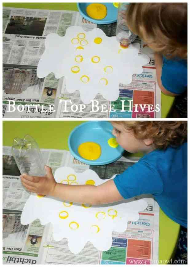 Bottle Beehives and Hand Print Bees