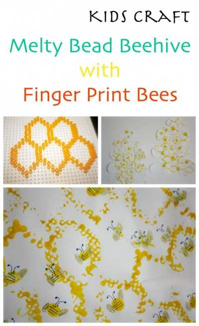 Melty Bead (Hama Bead) Craft for Kids. Make a beehive - and fingerprint bees.