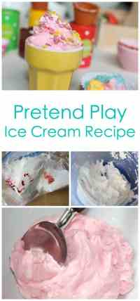 A fantastic recipe and idea for pretend play. This ice cream recipe has the best texture and is wonderful to play with! Including all instructions and inspiration for your very own ice cream shop
