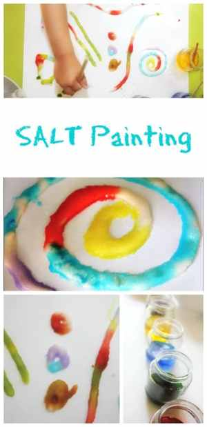 Painting with salt is a fantastic painting technique for an art and craft activity with kids of all ages.