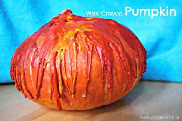 Pumpkin decorated with wax crayons