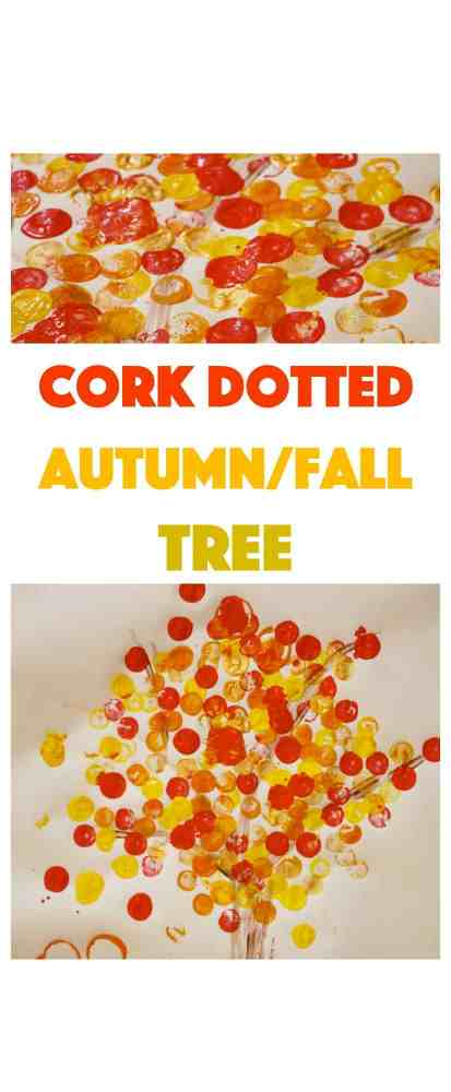 FallAutumn Kids Craft made simple. Try this cork dotted tree for maximum fun - and effect! Kids love printing with cork stamps.
