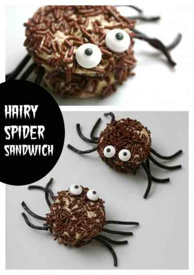 Halloween Food for Kids, this Hairy Spider Sandwich will complete any scary lunch box.