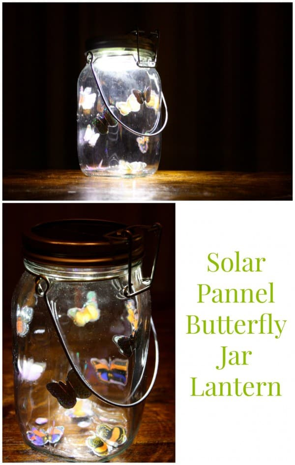 This beautiful lantern is made from a solar jar and 3d butterfly stickers - very pretty!