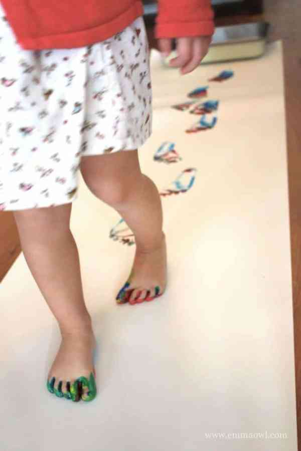 footprint rainbow walking