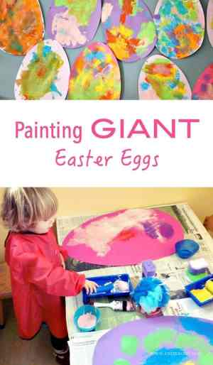 BIG ART for Kids, this Easter Egg Craft Project is a fun process art activity! The result - GIANT Easter Eggs!