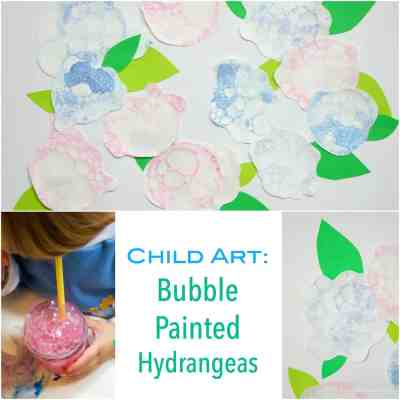 Child Art - Bubble Painted Hydrangeas