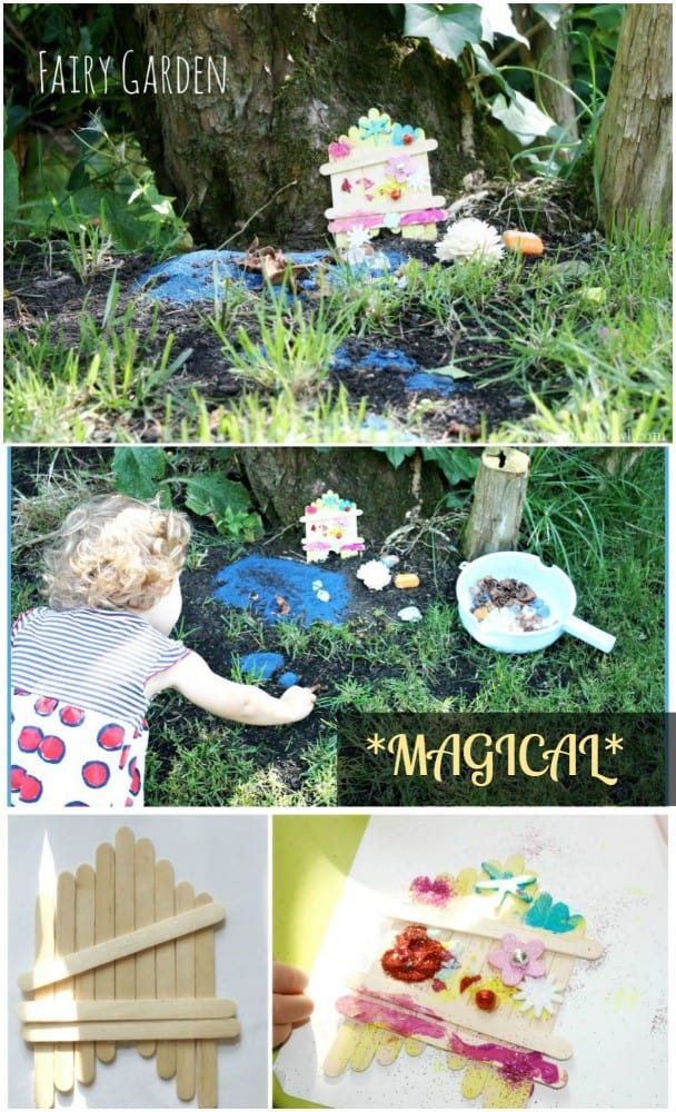Create your Own fairy garden - complete with door and decorations. All you need are some popsicle sticks and an imagination...