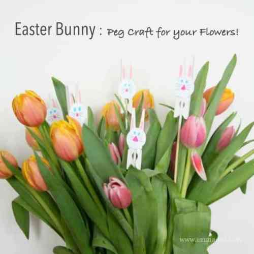 Easter Bunny Peg Craft for your flowers