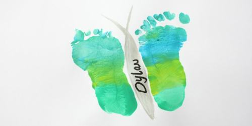 Footprint Keepsake Butterfly. Makes a great mothers day card