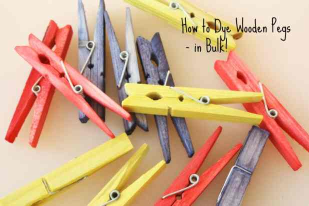 How to dye wooden clothing pegs in bulk. this is the easy way, a perfect classroom tip