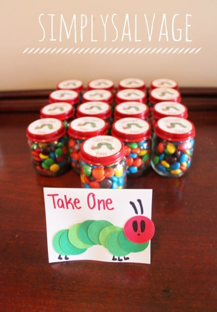 Hungry-Caterpillar-Party-Favors using baby food jars