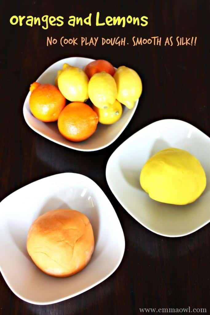 Oranges and Lemons No Cook Play Dough  Smooth as Silk