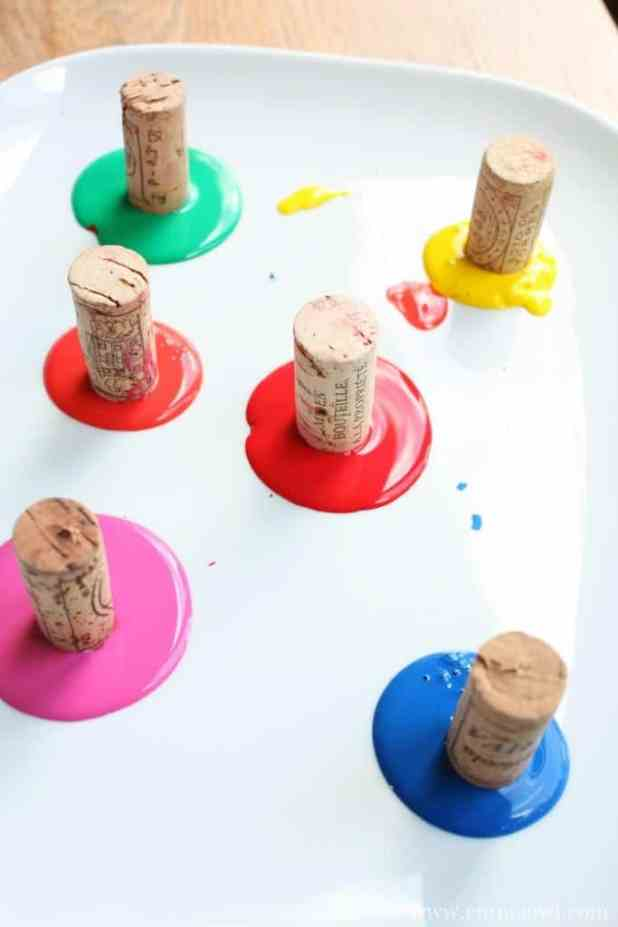 Painting with corks. These snails turned out great