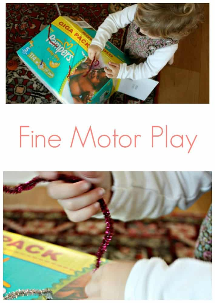 Playing with a box. Developing fine motor skills and concentration. This is a great indoor quiet activity.