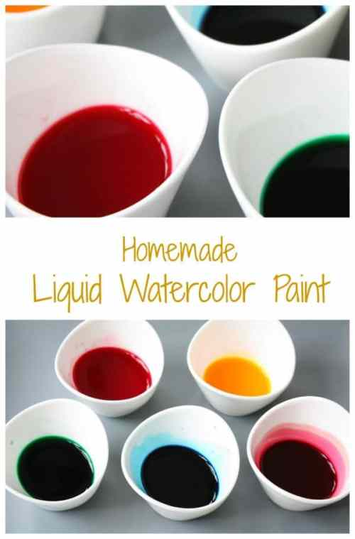 Homemade Liquid Watercolor Paint. Easy, Cheap and you can make it by the bucket full! Great for kids art and craft watercolor projects