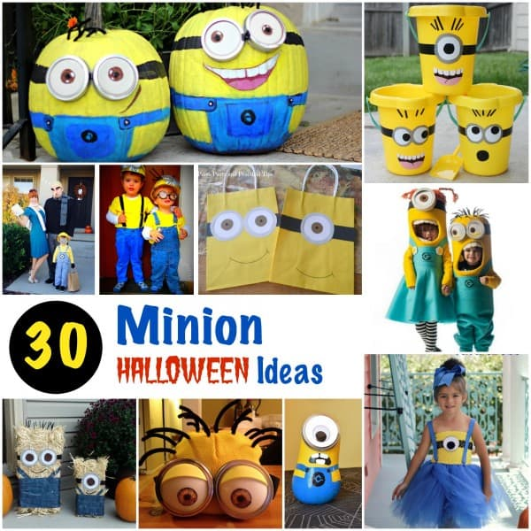 30 Minion Halloween Ideas - costumes - pumpkins - treat bags and decorations