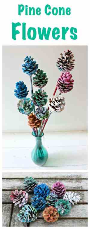 Beautiful Painted Pine Cone Flowers. Great Kids Craft Activity. So easy to do!