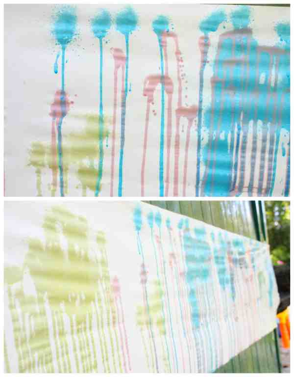 Outdoor Painting Activity for Kids. This Spray Painting Process Art Project has great results.