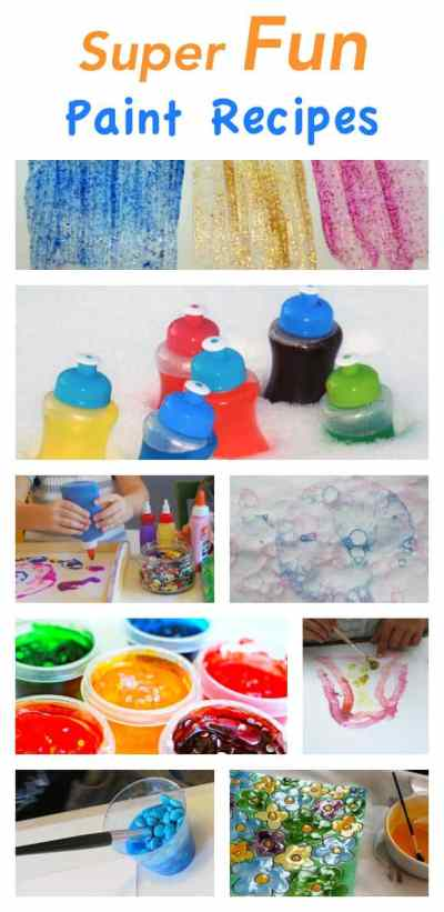 These are super fun paint recipes - glitter - snow - confetti - bubble - glue - and more. If you are looking for some fun painting action - then this is the list for you!