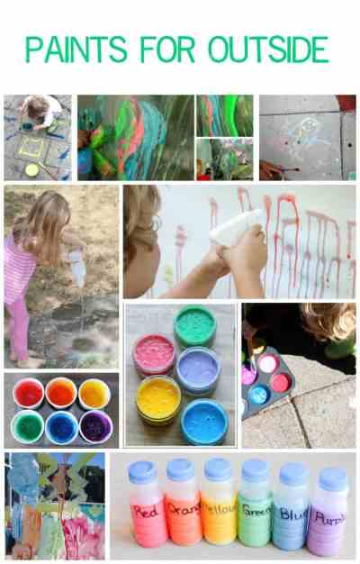 These paints can be used outside on sidewalks, windows, driveways, doors and grass! Great summer time craft recipes