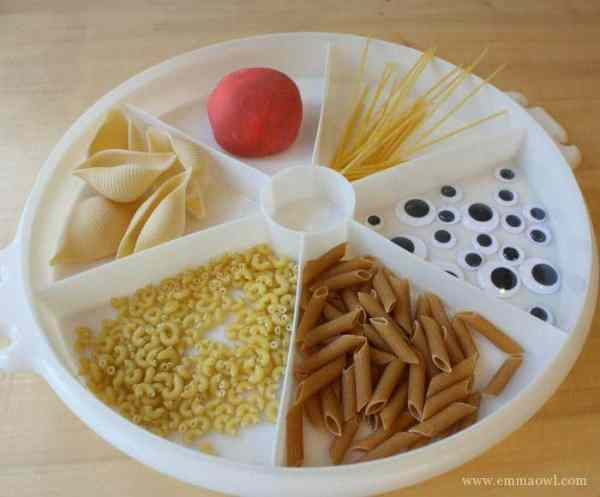 All the things you need to make pasta and play dough monsters