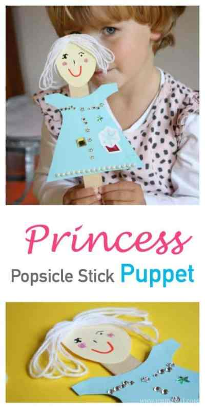 Fantastic little kids craft idea. This popsicle or craft stick princess puppet is not only fun to make, but is so much fun to play with afterwards!