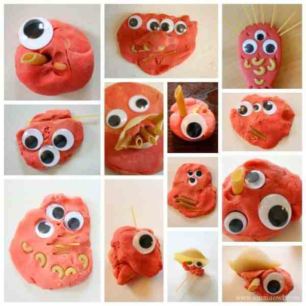 Pasta and Play Dough Monsters - such a great halloween kids activity