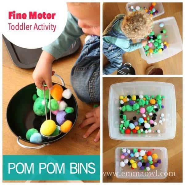 Pom Pom Bins for Toddler Fine Motor Play