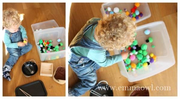 Pom pom bins. Great Toddler fine motor activity