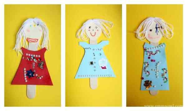 Popsicle Stick Princess Puppets