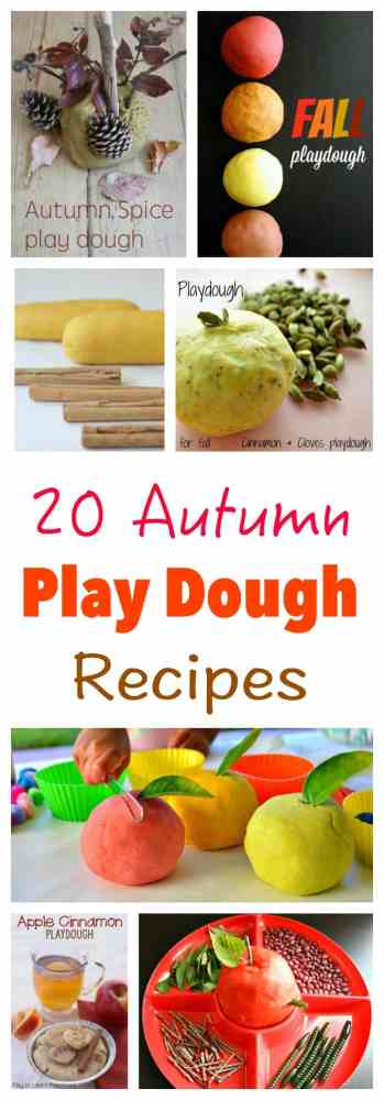 20 Autumn - Fall - Play Dough Recipes to make at home. This is the season for colors and smells!