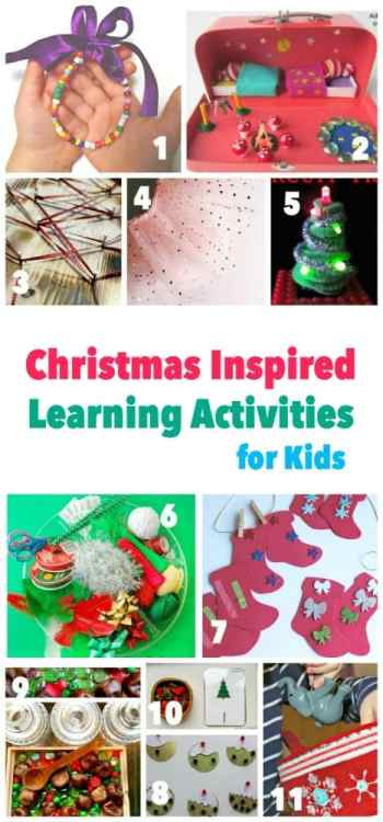 Here are 11 ways to creatively learn with your children at christmas time - including fine motor, numbers and counting, sorting, color matching, alphabet games, movement and music, science and play!