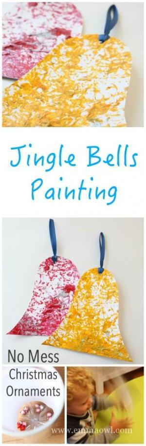 Jingle Bells Shake it Up Painting - No Mess and so much fun to do! Great Kids Christmas Craft Project