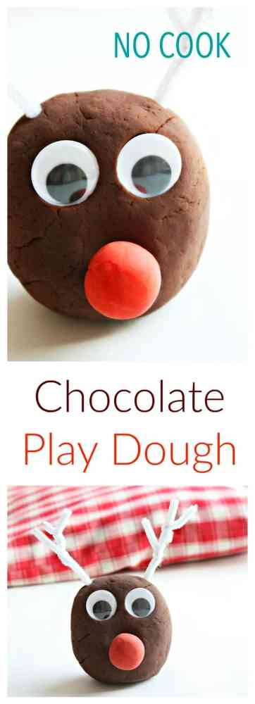 Make this fabulous no cook chocolate play dough. It makes the perfect Christmas Reindeer Kids Activity.