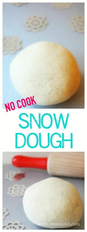 How to Make your Own Snow Dough - an easy Kids Winter Play Idea