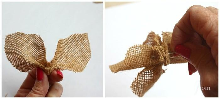 How to make a burlap poinsettia - with red fabric inserts