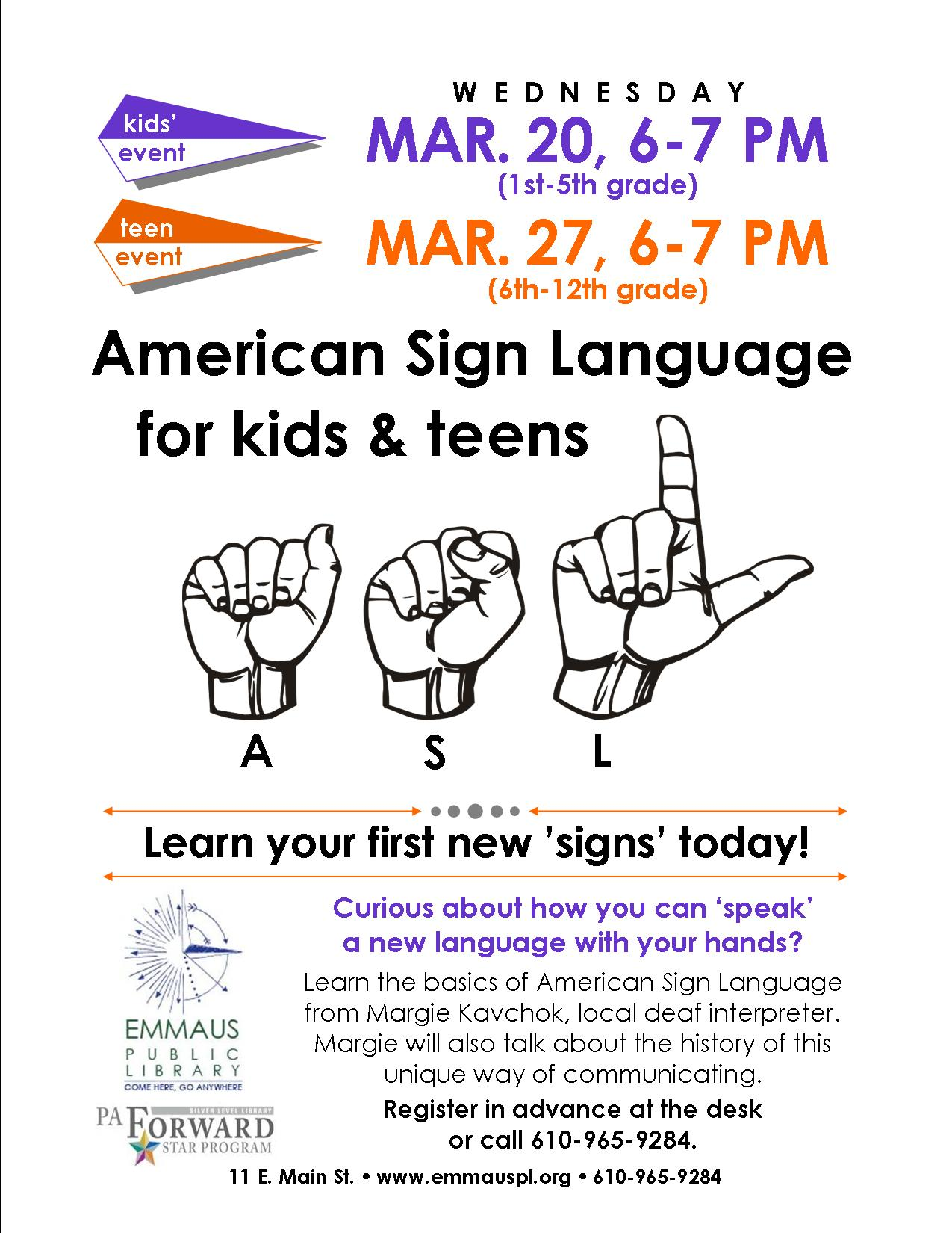 American Sign Language For Kids Teens And Adults