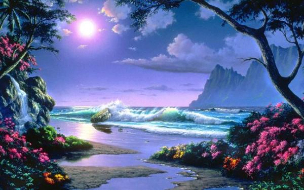 Beautiful Night Beach Scenery