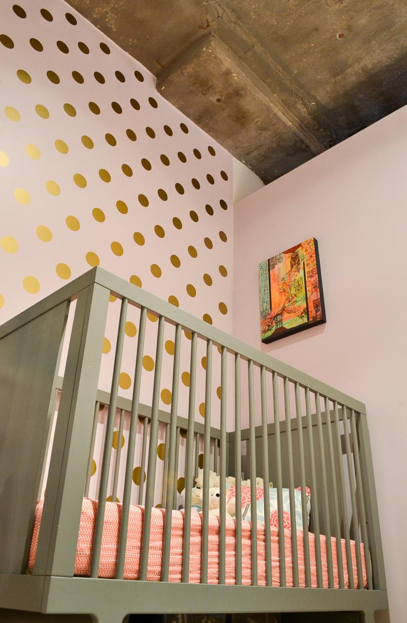 Concrete ceilings in loft nursery