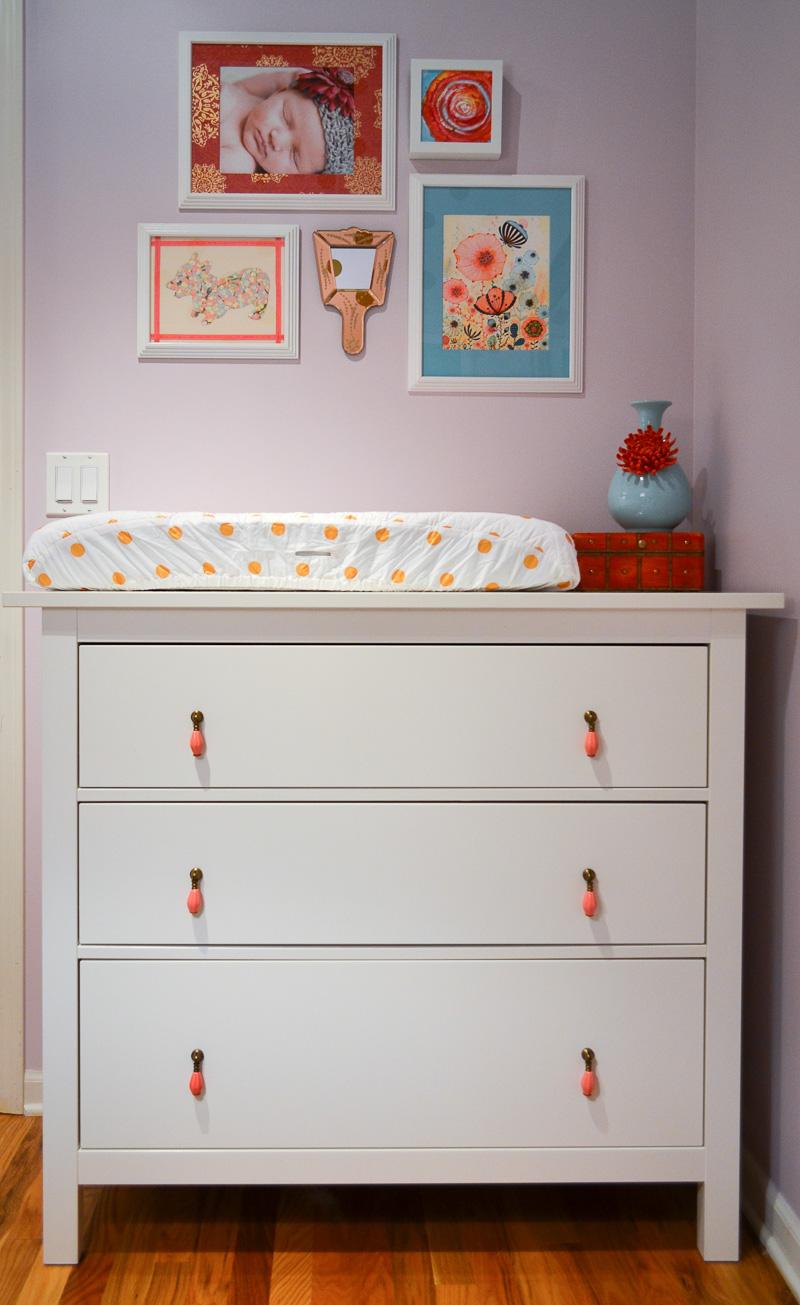 Ikea dresser with custom pulls