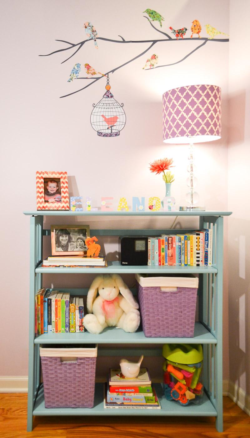 Turquoise nursery bookcase