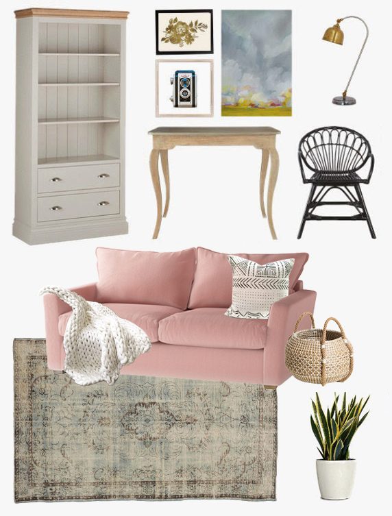 Cozy Guest Room Office Design Blush Pink