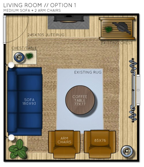 Country Cottage Living Room Floor Plan - Option 1