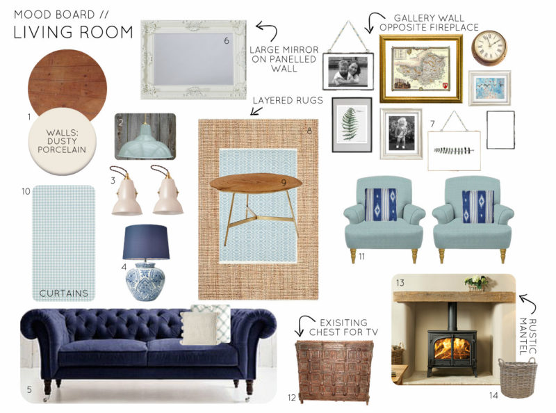 Mood Board Country Cottage Living Room - Option 1