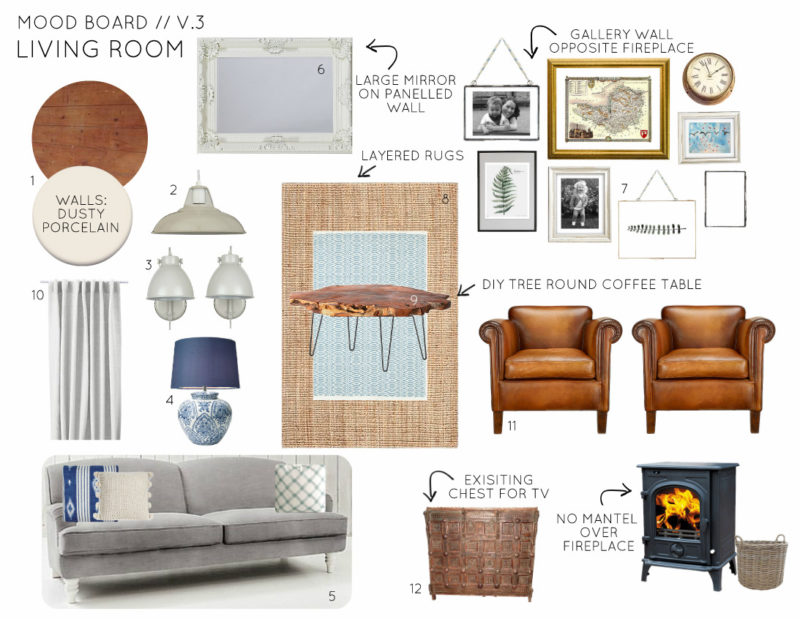 Mood Board Country Cottage Living Room - Option 3
