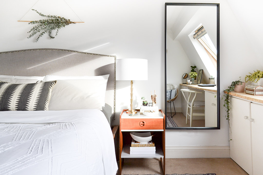 Neutral Layered Master Bedroom - Image Showing Tall Mirror Bed Eucalyptus Wall Hanging
